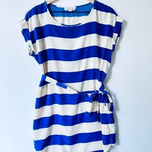 Pink Rose striped blue&white belted dress, Size S